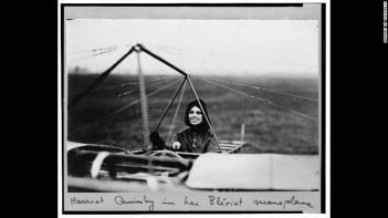 Harriet Quimby in her monoplane after becoming the first female pilot in the US to earn a pilot's certificate  in 1911.