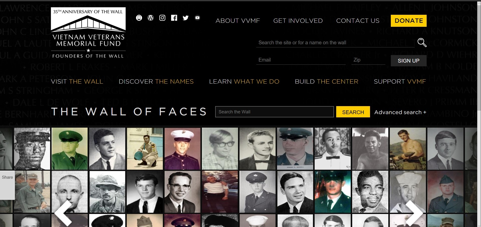 Wall of Faces Vietnam Memorial Paths I Walk