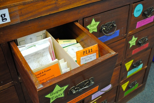 "Seed Libraries where library members can ""borrow"" fruit and veg seeds for free"