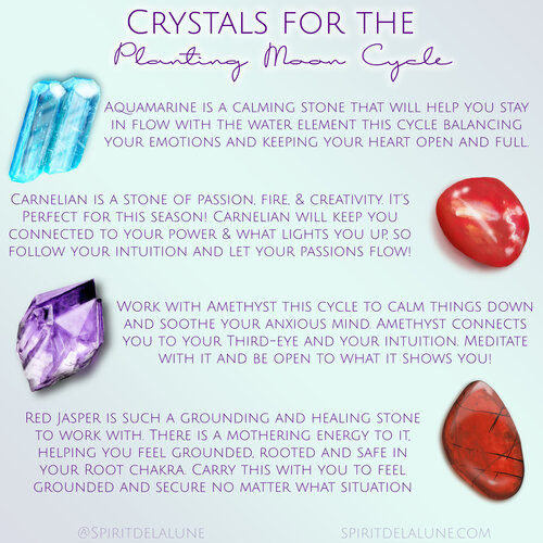 Spirit de la lune Crystals for the New Moon Planting Moon Cycle